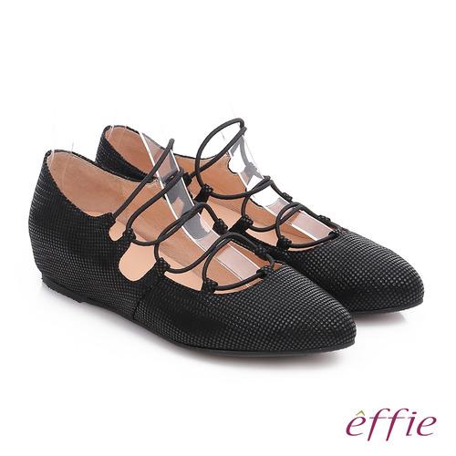 effie 都會舒適 絨面羊皮金箔內增高綁帶鞋(黑)