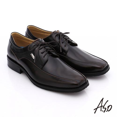 A.S.O 菁英通勤 真皮鏡面綁帶奈米紳士鞋(茶)