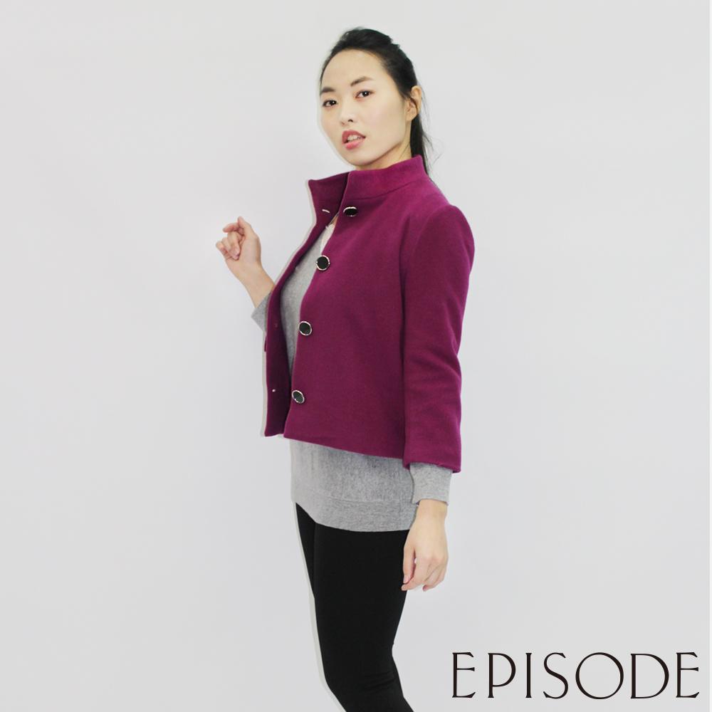 EPISODE - 氣質立領羊毛排釦外套(酒紅)