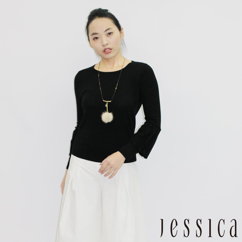 JESSICA - Sophia 素面混羊毛傘狀袖上衣(黑 / 附項鍊)
