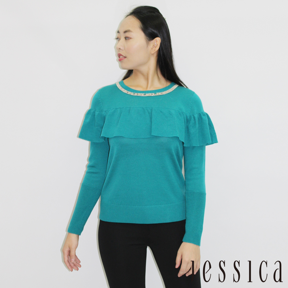 JESSICA - Olivia 鑽飾羊毛荷葉袖造型上衣(綠)