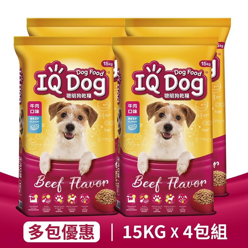 【IQ Dog】聰明乾狗糧 - 牛肉口味成犬配方 15kg x 4包