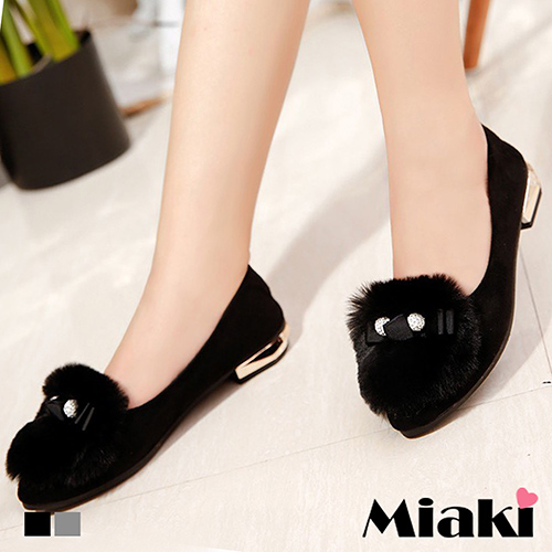 【Miaki】平底鞋韓風保暖休閒包鞋娃娃鞋 (灰色 / 黑色)