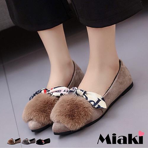 【Miaki】平底鞋可愛造型保暖休閒包鞋娃娃鞋 (卡其色 / 灰色 / 黑色)