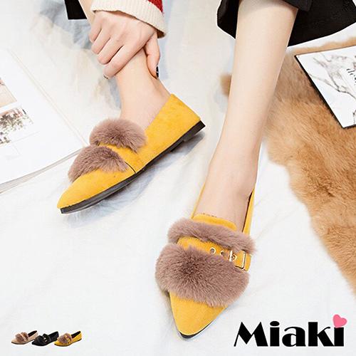 【Miaki】平底鞋日韓潮流保暖休閒包鞋娃娃鞋 (卡其色 / 黃色 / 黑色)