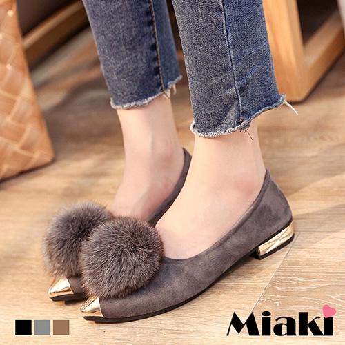 【Miaki】平底鞋韓風首爾尖頭休閒包鞋娃娃鞋 (卡其色 / 灰色 / 黑色)
