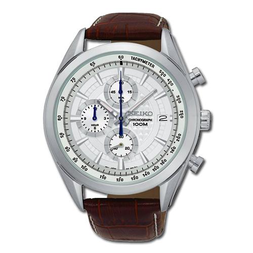 SEIKO 精工 不鏽鋼錶殼 皮革錶帶 石英男錶 日期 防水  SSB181P1