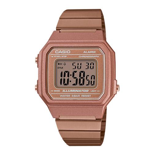 CASIO 卡西歐 電子錶 女錶 中性錶 不鏽鋼錶帶 玫瑰金 防水 全自動日曆 B650WC-5A