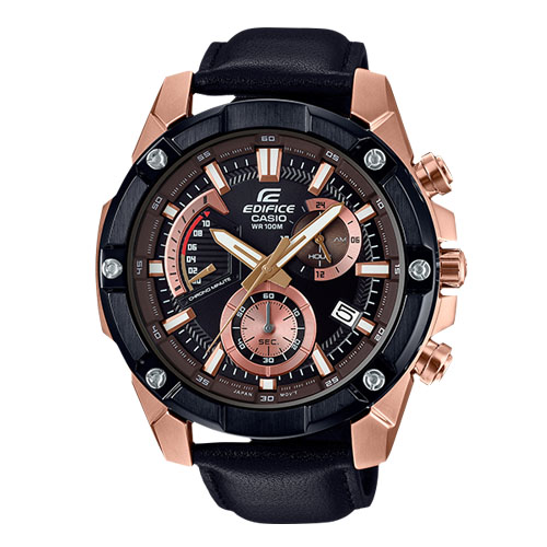 EDIFICE 男錶 三眼計時碼錶 皮革錶帶 黑x玫瑰金 防水100米 EFR-559BGL-1A