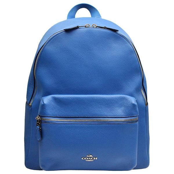 【COACH】立體馬車標誌 荔枝紋全皮革後背包(大/藍色)