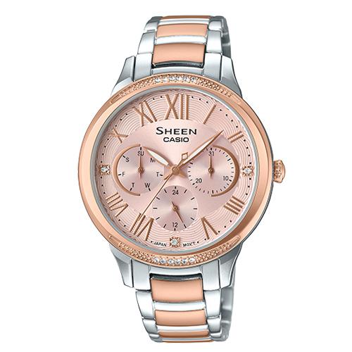 SHEEN 三眼指針女錶 不鏽鋼錶帶 玫瑰金 防水 SHE-3058SPG-4A
