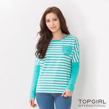TOP GIRL-彩條口袋圓領造型T(北卡藍)