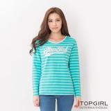 TOP GIRL-彩條蕾絲圓領T-藍