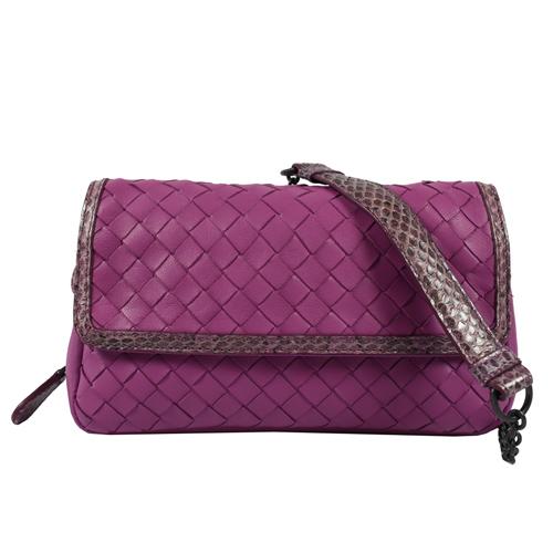BOTTEGA VENETA  經典編織羊皮斜背晚宴鍊包.紫