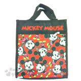 〔小禮堂〕迪士尼 米奇 帆布直式手提袋《黑.Q版.張開手.滿版》