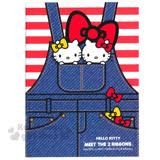 〔小禮堂〕Hello Kitty 筆記本《16K.紅白條紋.吊帶裙.蝴蝶結.姊妹》橫條紋內頁