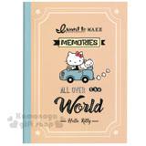 〔小禮堂〕Hello Kitty 筆記本《16K.綠邊.咖色底.坐車車.小松鼠》橫條紋內頁