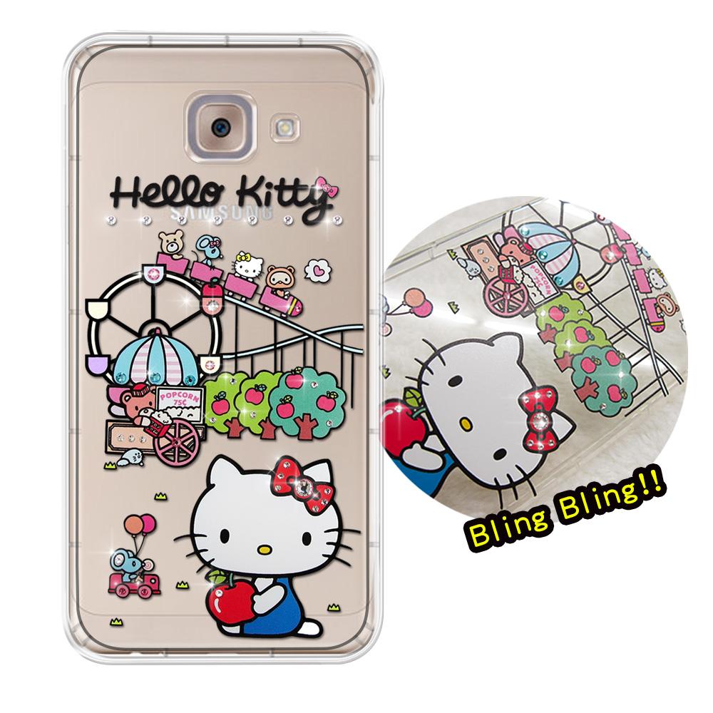 三麗鷗授權 Hello Kitty 三星 Samsung Galaxy J7 Max 5.7吋 夢幻童話 彩鑽氣墊保護殼(遊樂園)