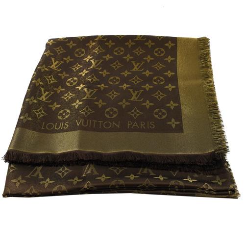 Louis Vuitton LV M75122 Monogram Shine 經典花紋羊毛絲綢披肩圍巾.金棕