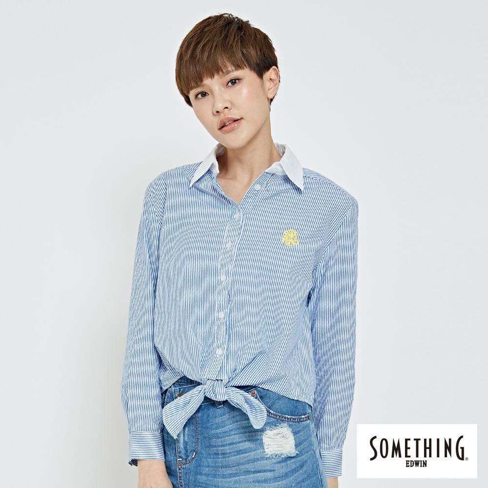 SOMETHING 短版綁結襯衫-女-藍色