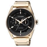 CITIZEN Eco-Drive 真我的姿態時尚優質雙圈風格腕錶-黑金-BU4022-81E