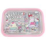 〔小禮堂〕Hello Kitty 不鏽鋼隔熱便當盒《粉.方形.甜點》容量約550ml