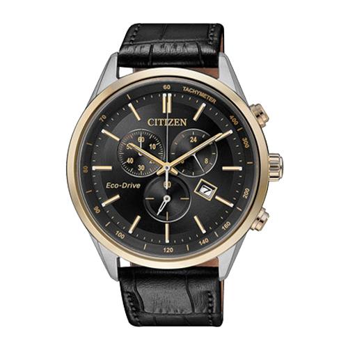 CITIZEN 星辰 男錶計時碼錶 皮錶帶 黑 藍寶石玻璃 光動能 AT2144-11E