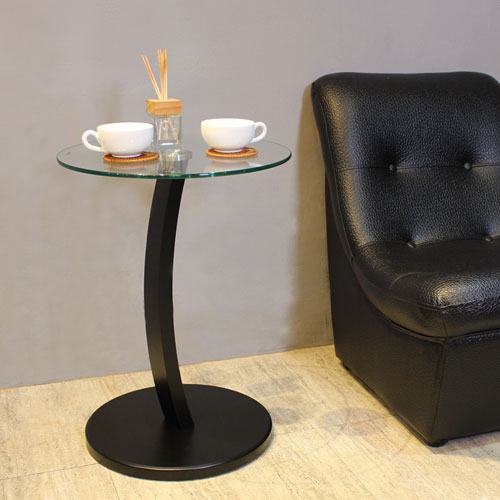 ~Asllie~圓舞曲玻璃圓茶几 邊桌~黑色