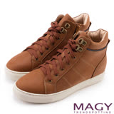 MAGY 街頭率性 真皮內增高高筒休閒鞋-棕色