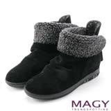 MAGY 暖冬時尚 2WAY抓皺捲毛麂皮短靴-黑色