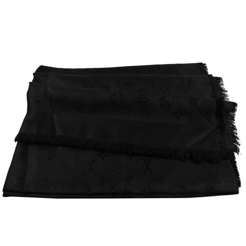 Louis Vuitton LV M71329 Monogram 經典花紋羊毛絲綢披肩圍巾.黑色 現貨