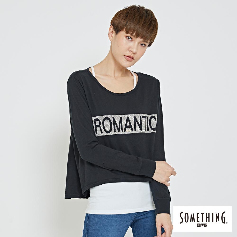 SOMETHING 休閒個性字體T恤 -女-黑色