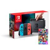 Nintendo任天堂 Switch主機(台灣公司貨)+瑪利歐賽車 8 【豪華收納包+主機立架+玻璃保護貼】《贈:賽車手把方向盤》