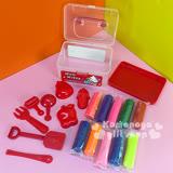 〔小禮堂〕Hello Kitty 10色黏土玩具《小.紅.透明提盒裝.側站.玩具箱》內附造型壓模
