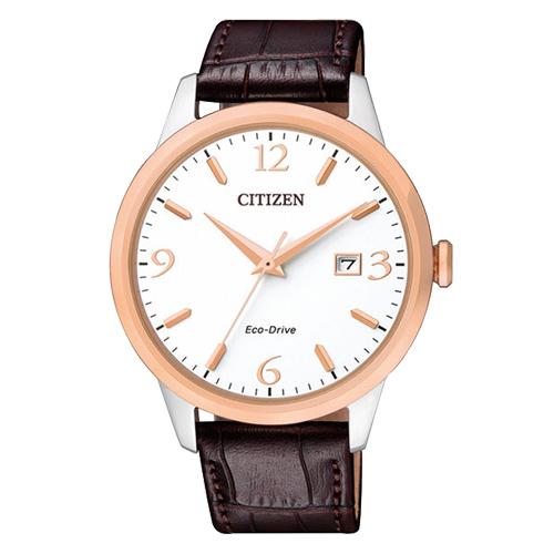 CITIZEN 星辰 指針男錶 小牛皮錶帶 白 光動能 藍寶石玻璃鏡面 BM7304-16A