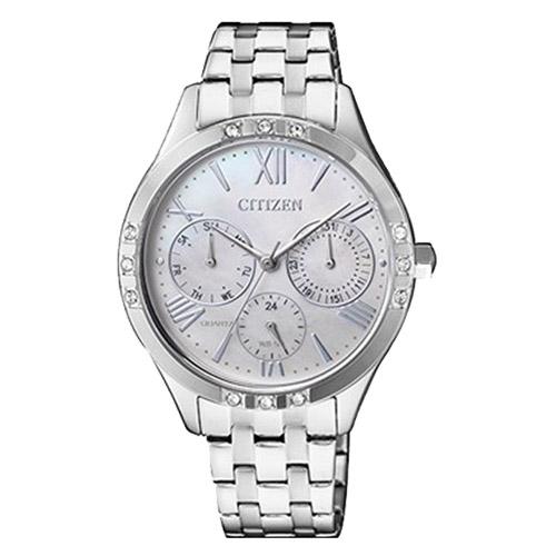 CITIZEN 星辰 石英女錶 不鏽鋼錶帶 銀 防水 ED8170-56D