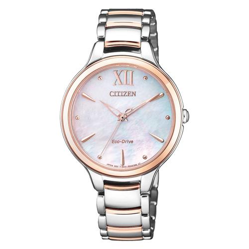 CITIZEN 星辰 指針女錶 不鏽鋼錶帶 光動能 藍寶石玻璃鏡面 EM0556-87D