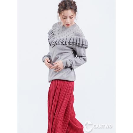 CANTWO宮廷荷葉針織上衣(共二色)