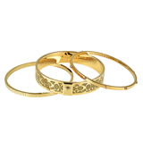 COACH 經典LOGO水鑽鑲飾金屬3只組合穿戴手環(金)