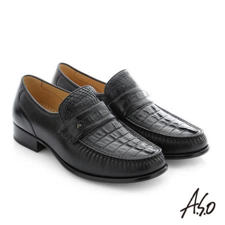 A.S.O阿瘦  鱷魚牛皮手縫紳士鞋(黑)