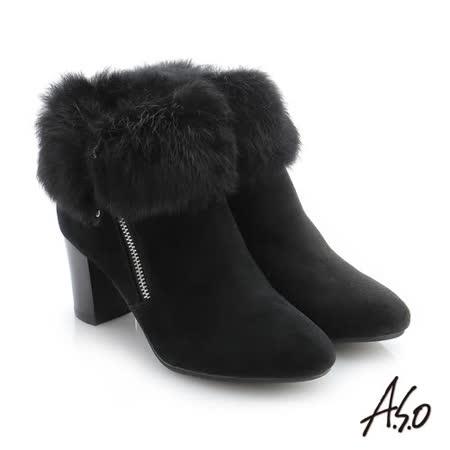 A.S.O阿瘦 全真皮粗跟中筒靴 (黑)