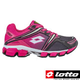 LOTTO 義大利 女童 X-POWER 避震跑鞋(黑/粉-LT6AKR3723)