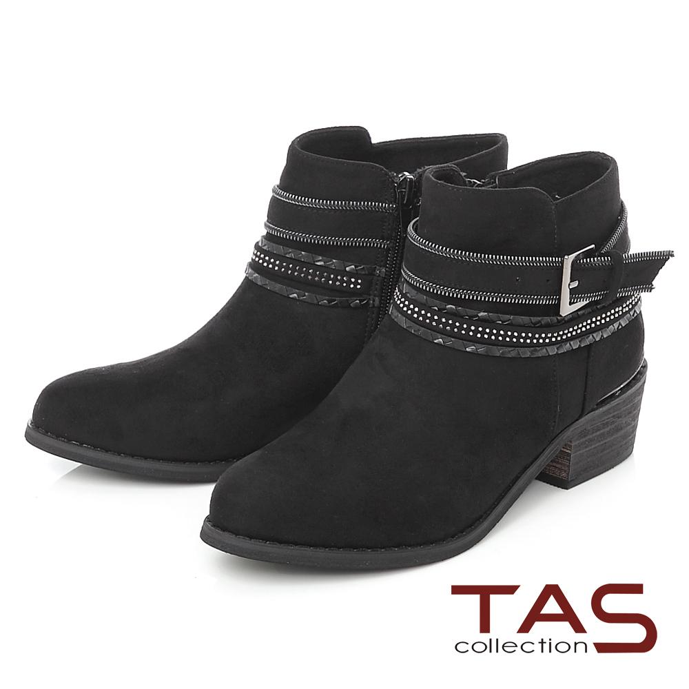 TAS 多層造型鏈條繞踝粗跟短靴-街頭黑