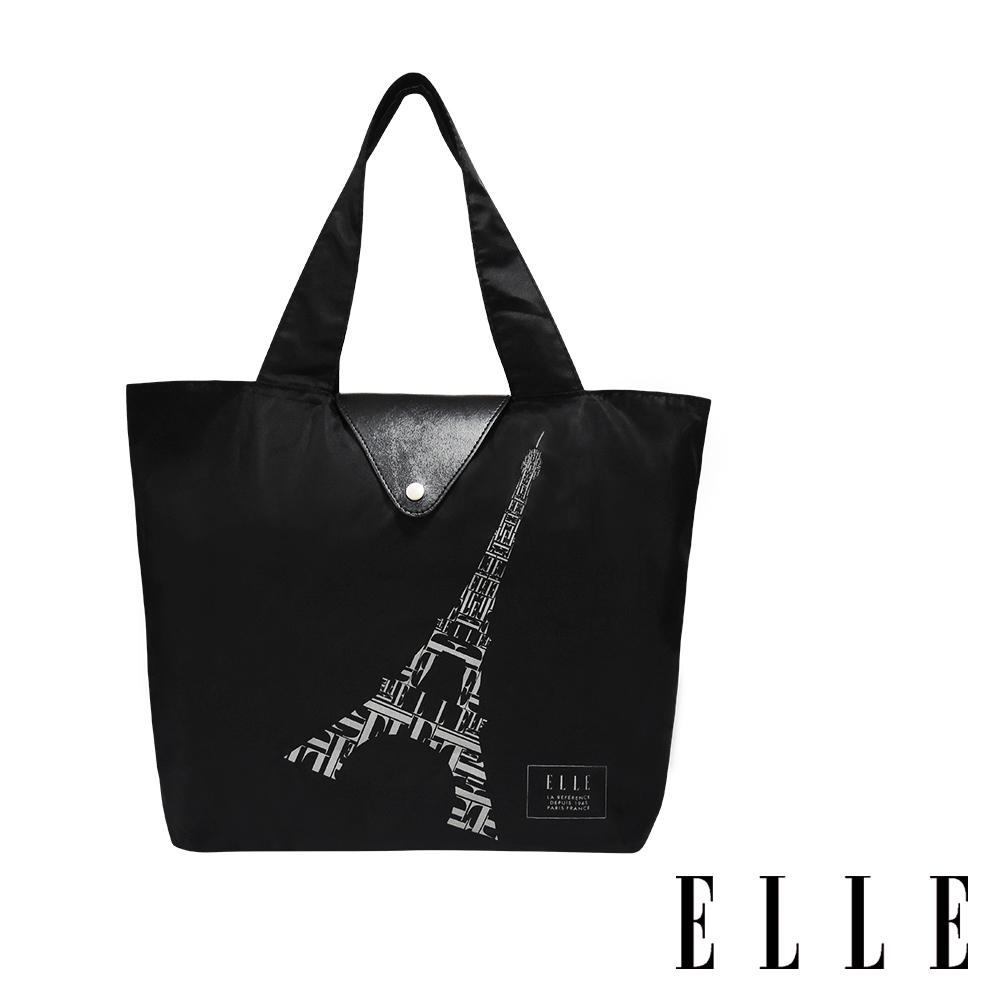 ELLE 鐵塔插畫環保摺疊購物袋-經典黑 G52368
