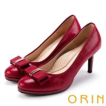 ORIN  羊皮蝴蝶結飾釦高跟鞋