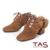 TAS 麂皮2way後踩羊毛方頭綁帶粗跟鞋-榛果卡其