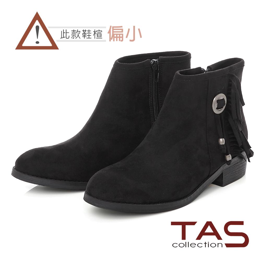 TAS 波希米亞流蘇銅釦粗跟短靴-經典黑