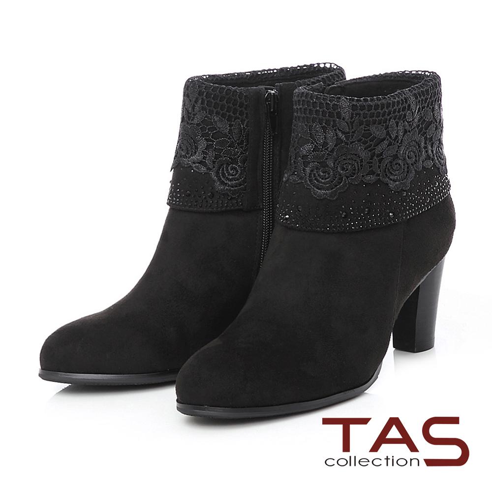 TAS 玫瑰針織蕾絲燙鑽反折高跟短靴-奢華黑