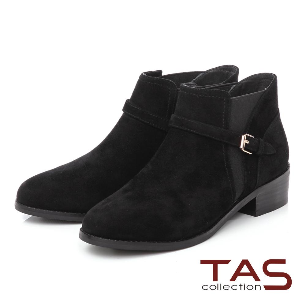 TAS 麂皮拼接皮帶扣粗跟短靴-率性黑