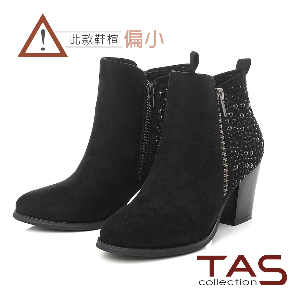 TAS 燙鑽鉚釘雙側拉鍊高跟短靴-低調黑